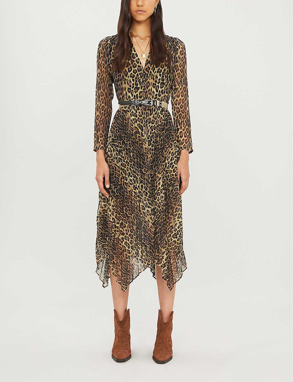Leopard-print crepe midi-dress(8085177)