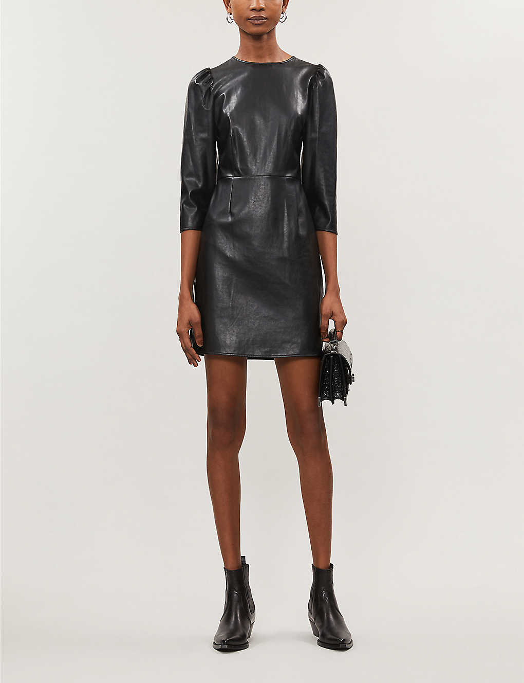 Round-neck faux-leather mini dress(8253359)