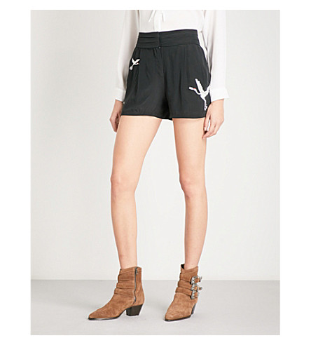 THE KOOPLES Embroidered silk-crepe shorts (Bla01