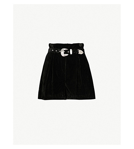 THE KOOPLES 扣带天鹅绒短裤 (Bla01