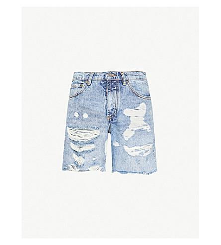 THE KOOPLES High-rise faded-wash denim shorts (Blu11