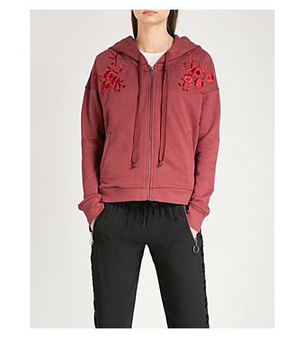 THE KOOPLES Burgundy zippered sweatshirt with floral (Red08