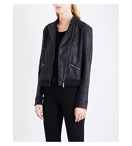 THE KOOPLES Eagle-embroidered faux-leather jacket (Bla01