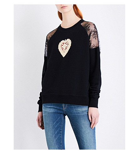 THE KOOPLES Heart-embroidered cotton-jersey sweatshirt (Bla01