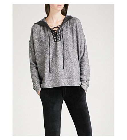 THE KOOPLES Laced leather-detail jersey hoody (Gry23