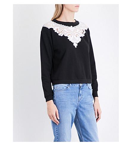 THE KOOPLES Floral cotton-jersey sweatshirt (Bla01