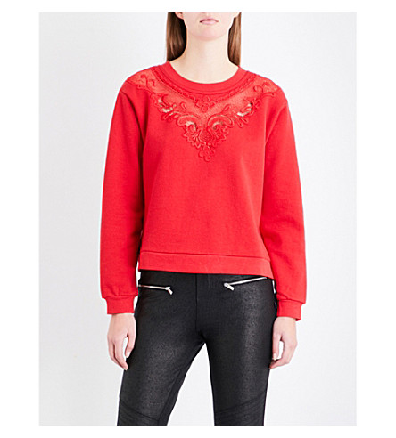 THE KOOPLES Floral-embroidered cotton-jersey sweatshirt (Red01