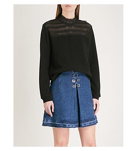 THE KOOPLES Lace-detail cotton-jersey sweatshirt (Bla01