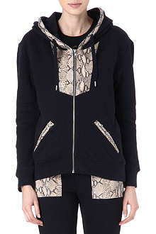 THE KOOPLES SPORT Python-print leather trim hoody