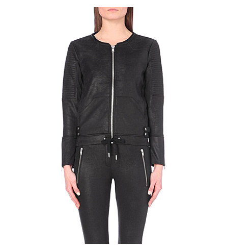 THE KOOPLES SPORT Biker-effect jersey jacket (Black