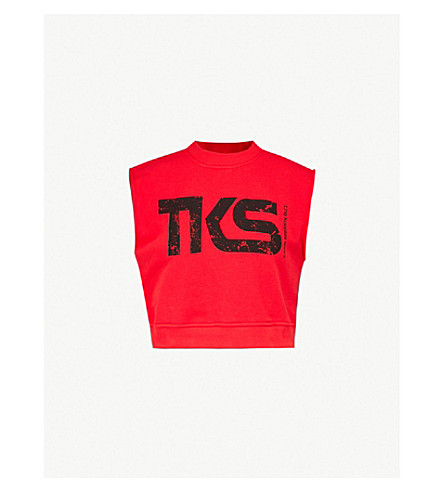 THE KOOPLES Logo-print cotton-jersey crop top (Red01