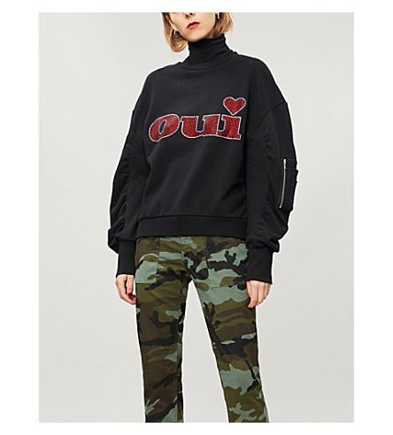 THE KOOPLES Oui-embellished cotton sweatshirt (Bla01
