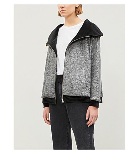 THE KOOPLES羊毛和天鹅绒可逆帽衫 (Gry23