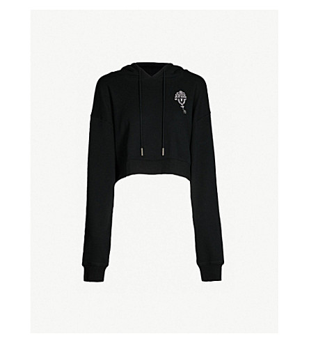 THE KOOPLES 缀饰九分款平纹针织棉帽衫 (Bla01