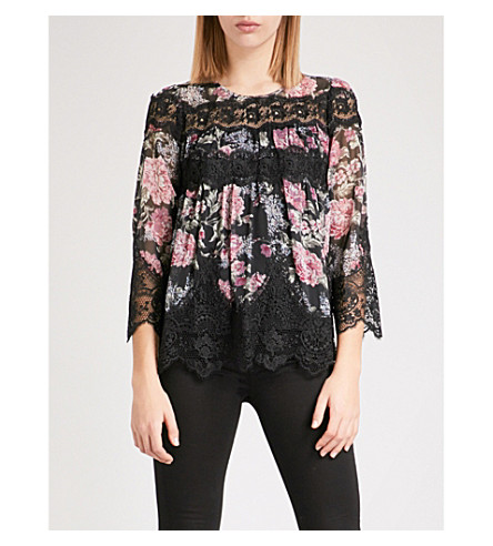 THE KOOPLES Lili Rose floral chiffon top (Mu01