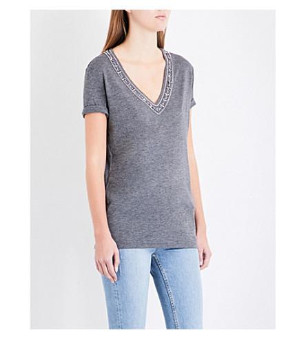 THE KOOPLES 点缀平纹针织面料 T 恤 (Gry23