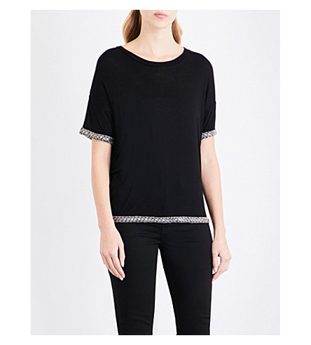 THE KOOPLES Embellished-trim jersey T-shirt (Bla01