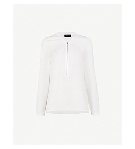 THE KOOPLES Zip-front silk top (Whi01