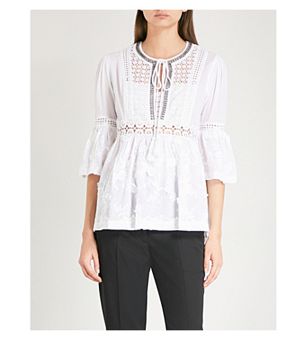 THE KOOPLES Embroidered white cotton top (Whi01
