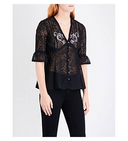 THE KOOPLES Embellished floral-embroidered chiffon blouse (Bla01