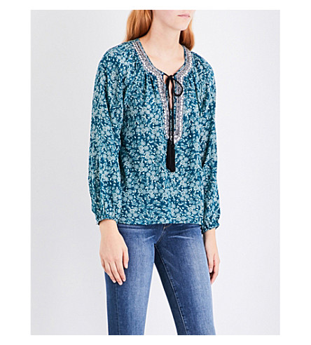 THE KOOPLES Waterlily-print silk-crepe blouse (Blu26