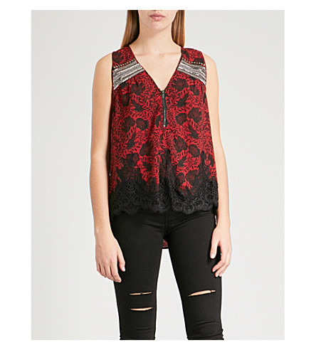THE KOOPLES Rose-print sleeveless woven top (Red01