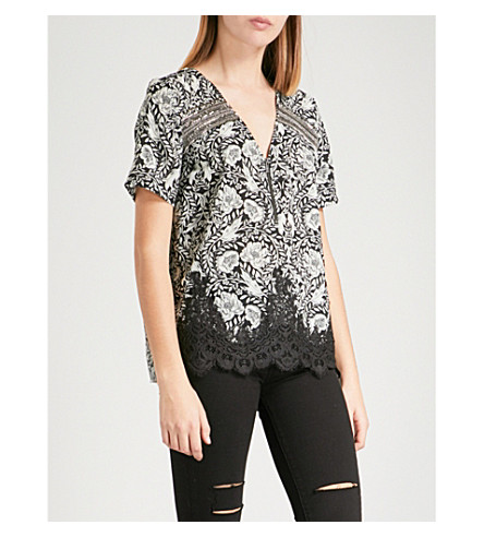THE KOOPLES Rose-print woven top (Bla06