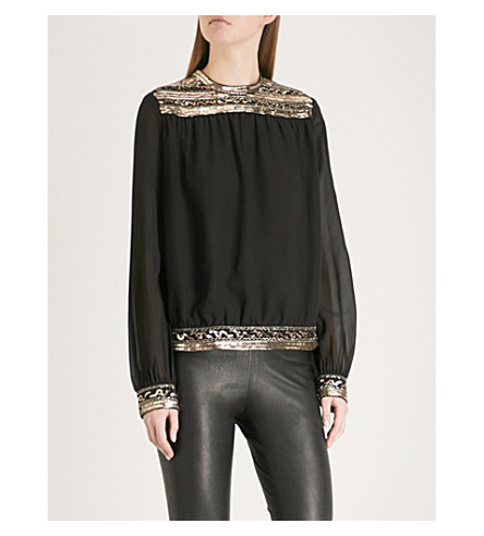 THE KOOPLES Embellished chiffon blouse (Bla01