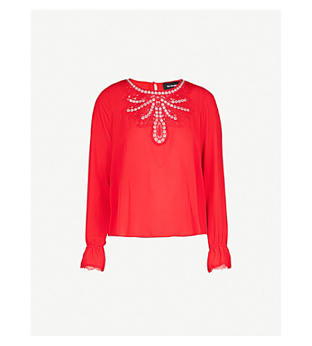 THE KOOPLES Lace and eyelet-detail crepe blouse (Red01