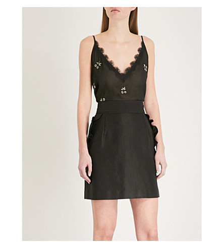 THE KOOPLES Cherry-embellished chiffon camisole (Bla01
