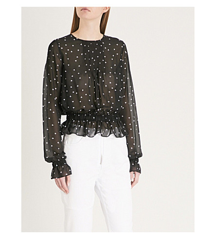 THE KOOPLES Heart-print chiffon top (Bla01