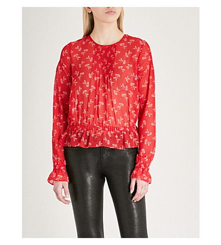 THE KOOPLES Floral-print chiffon top (Red01
