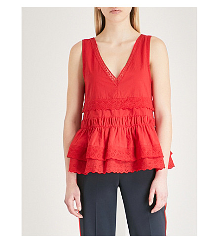 THE KOOPLES Lace-trim flared cotton top (Red01