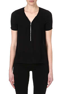 THE KOOPLES Zip-detail silk top