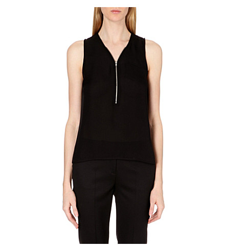THE KOOPLES Zip-detail silk top (Black