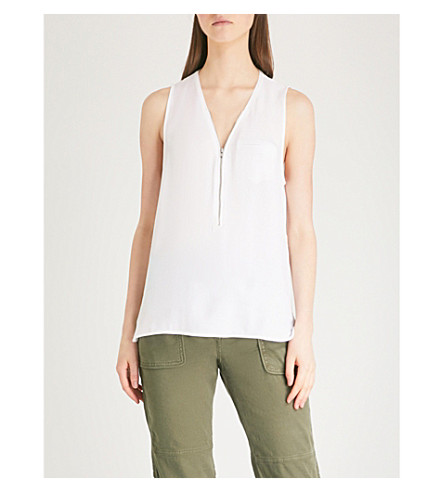 THE KOOPLES Silk tank top with zip (White
