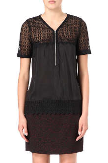 THE KOOPLES Zip-front silk and lace top