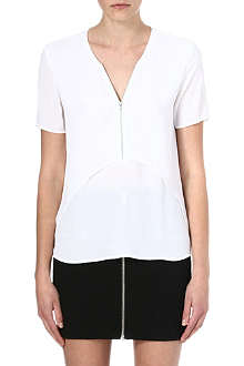 THE KOOPLES Zip-front layered crepe top