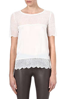 THE KOOPLES Croc-lace silk top