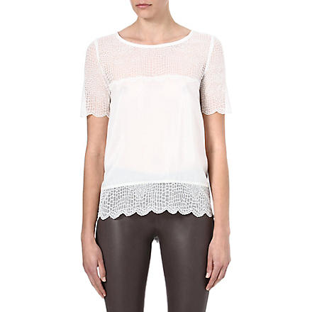 THE KOOPLES Croc-lace silk top (Ecru