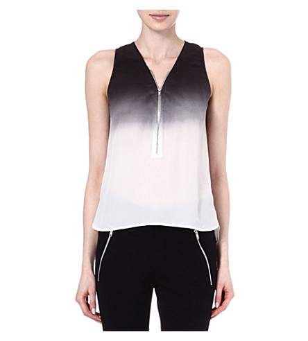 THE KOOPLES SPORT Tie-dye silk top with zip (Black-ecru