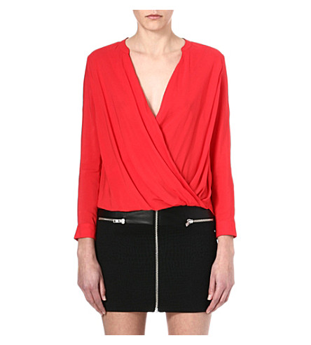 THE KOOPLES Draped crepe blouse (Red