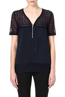 THE KOOPLES Vintage Skullhead silk and lace top