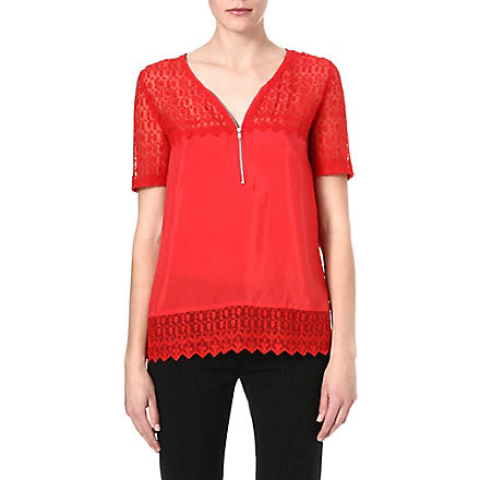 THE KOOPLES Vintage Skullhead silk and lace top (Red