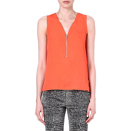 THE KOOPLES Zip-front silk top (Corail