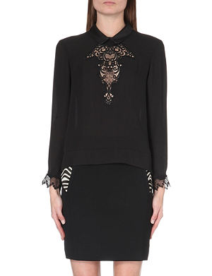 THE KOOPLES Crepe and lace top