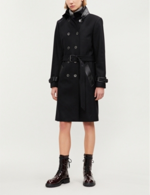 Leather-Trimmed Belted Double Breasted Coat in Bla01