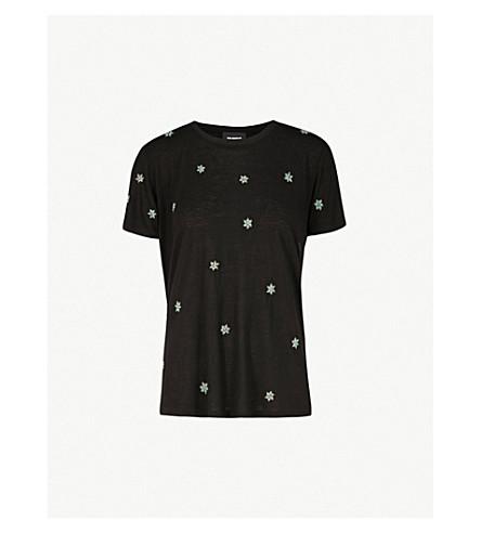 THE KOOPLES 花卉缀饰梭织 T 恤 (Bla01