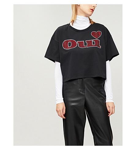 THE KOOPLES Oui-print cotton-jersey T-shirt (Bla01
