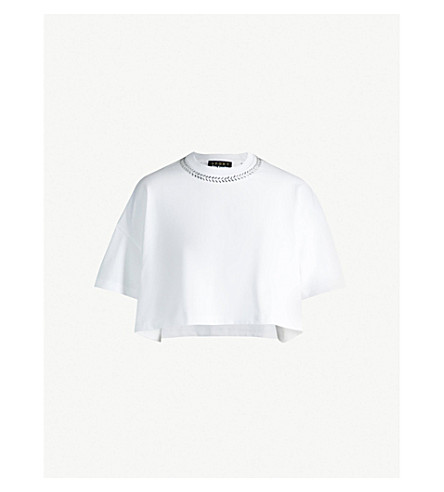 THE KOOPLES 缀饰九分款平纹针织棉 T 恤 (Whi01